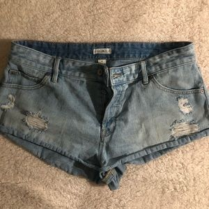 Two pairs of denim shorts